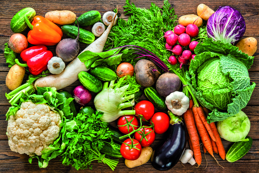 Assortment of the fresh vegetables